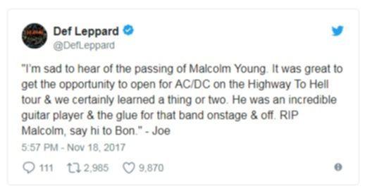 Def Leppard über den Tod von Malcolm Young.