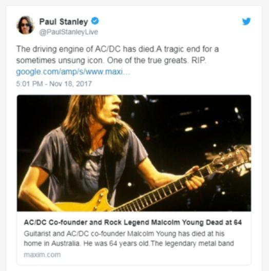 Paul Stanley auf Twitter über den Tod von Malcolm Young.
