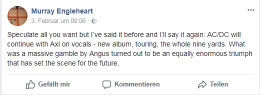 Murray Engleheart Facebookpost über ACDC